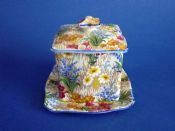 Royal Winton Grimwades 'Marguerite' Chintz Preserve Pot and Base c1930